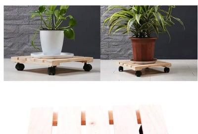 Дървена подложка саксия с колелца