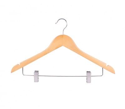 Дървена закачалка за дрехи с щипки