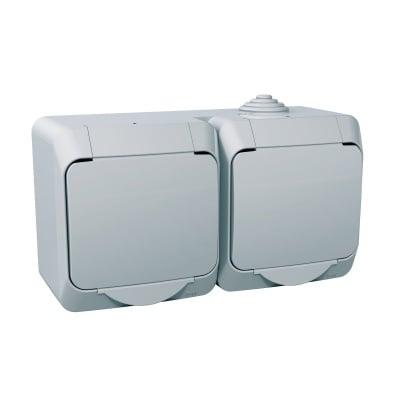Двоен контактен излаз, странично заземяване Cedar Plus Schneider