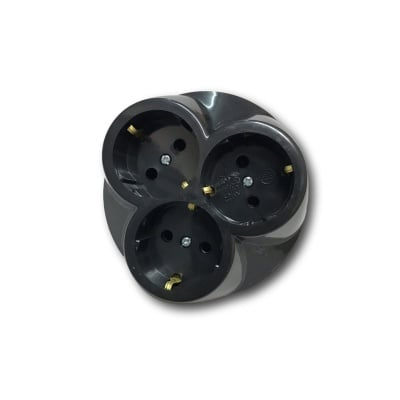 Троен разклонител SFT04 ЧЕРЕН 10-16A 250V без кабел