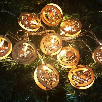 Коледен дървен гирлянд, шейната на Дядо Коледа, светещ