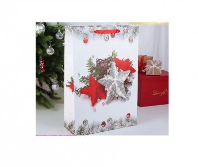Луксозна Коледна подаръчна торбичка Звезди