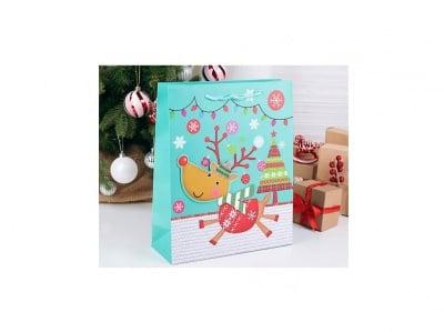 Коледна подаръчна торбичка за деца Рудолф 3D