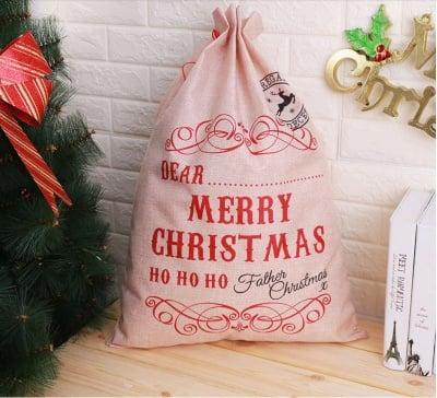 Коледен чувал за подаръци и декорация Merry Christmas