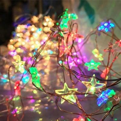 LED лампички купър - разноцветни Звездички 2