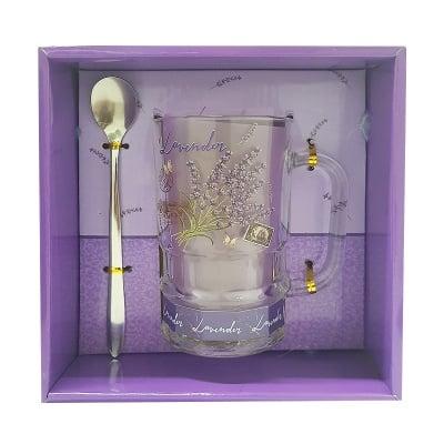 Комплект стъклена чаша Lavender с лъжичка 1 бр.