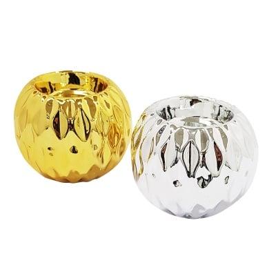 Керамичен свещник -  злaто / сребро