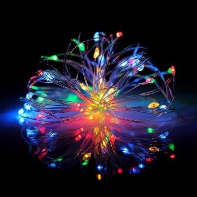"""LED гирлянд 30 броя лампички """" Купър """" за външна и вътрешна употреба на батерии Enigma Lights"""