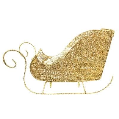 Светеща Коледна шейна - злато и сребро