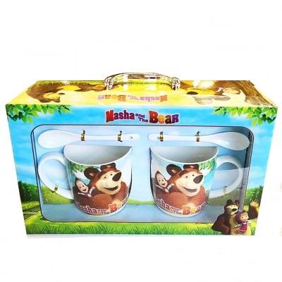 Комплект Маша и мечока - чаша, чинийка и лъжичка 2 бр.