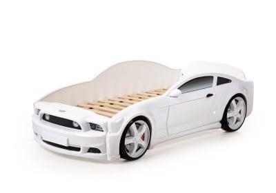 Легло - кола с триизмерен дизайн бял Мустанг