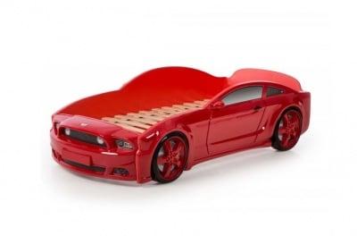 Легло - кола с триизмерен дизайн червен Мустанг
