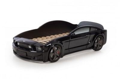 Легло - кола с триизмерен дизайн черен Мустанг