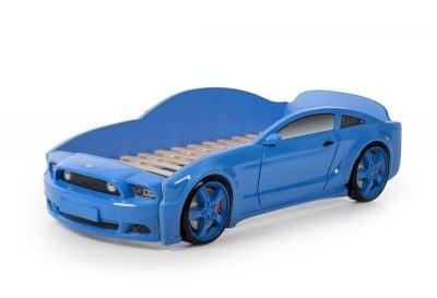 Легло - кола с триизмерен дизайн син Мустанг