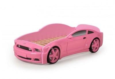 Легло - кола с триизмерен дизайн розов Мустанг