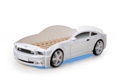 Светещо легло - кола с триизмерен дизайн бял Мустанг