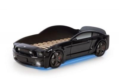 Светещо легло - кола с триизмерен дизайн черен Мустанг