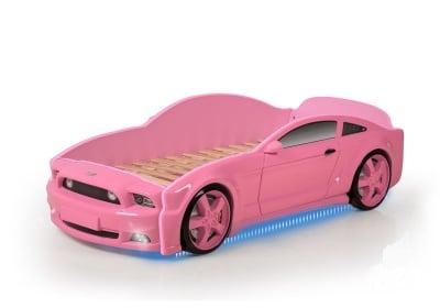 Светещо легло - кола с триизмерен дизайн розов Мустанг