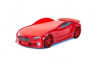 Светещо 3D легло - кола червен Мерцедес Neo + матрак