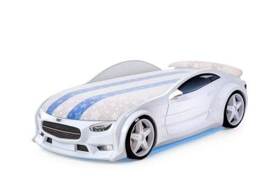 Светещо 3D легло - кола бял Мерцедес Neo + матрак