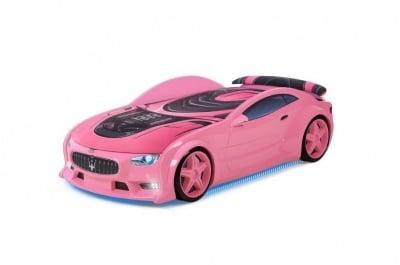 Светещо 3D легло - кола розово Мазерати Neo + матрак