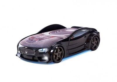 Светещо 3D легло - кола черно Мазерати Neo + матрак