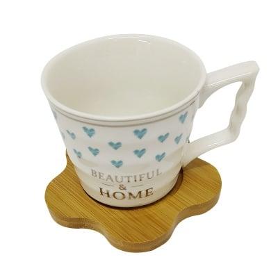 Koмплект порцеланови чаши с дървени чинийки, 6 бр.