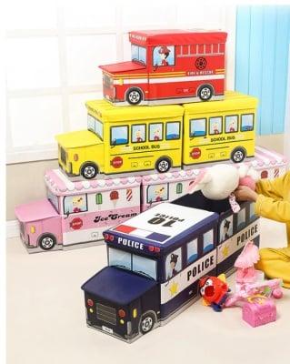 Детска сгъваема кутия за играчки тип автобус