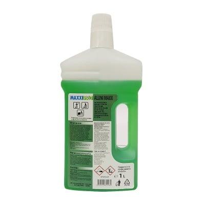 Почистващ и дезинфекциращ биоцид за твърди и полутвърди повърхности ALUNI MAXX - без хлор,  1л