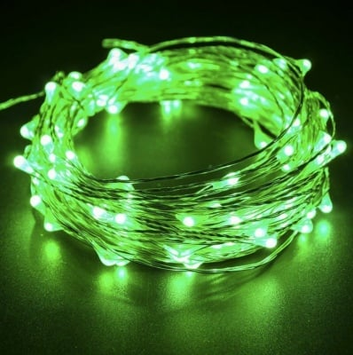 """LED Каскада 200 броя лампички """" Купър """"  - зелена светлина"""
