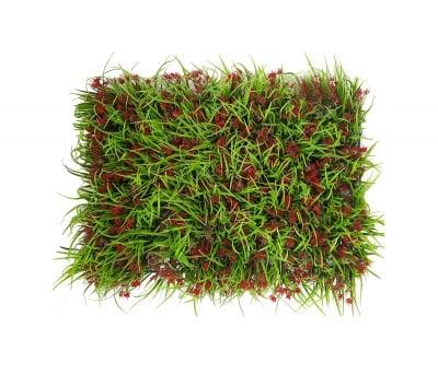 Пано изкуствена трева Red flowers
