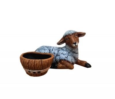 Керамична фигура Агънце с кашпа