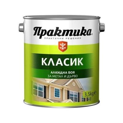 Боя Практика КЛАСИК алкидна за метал и дърво 3,5 кг - БЯЛА