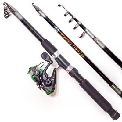 Комплект риболовен прът DOUBLE FISH 240 см и макара DH 200X