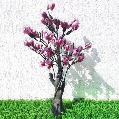 Изкуствено цвете дърво - МАГНОЛИЯ в лилаво
