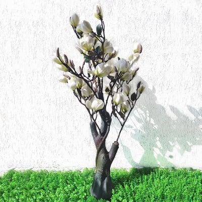 Изкуствено цвете дърво - МАГНОЛИЯ в бяло