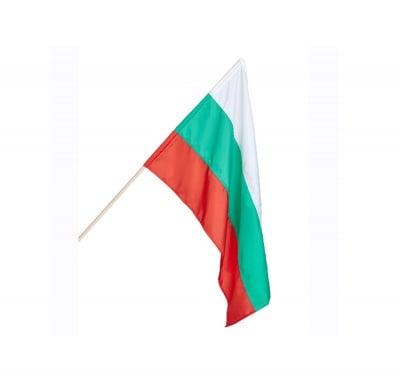 Знаме на България с дървена дръжка - 4 размера