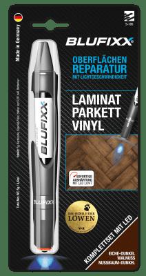 UV ремонтен гел BLUFIXX за ламинат, паркет, винил, тъмен дъб, 5гр, комплект със светодиод