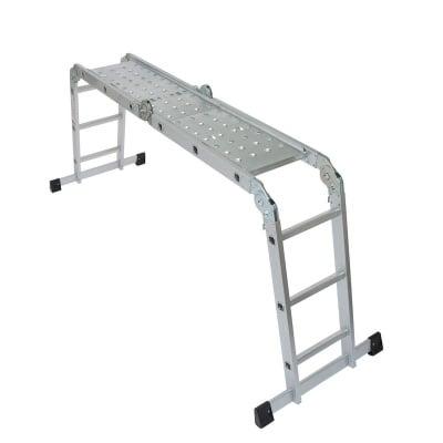 Многофункционална сгъваема стълба 4x3 с метална платформа