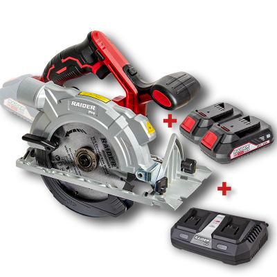 ПРОМО пакет RAIDER R20 SCS20 - Акумулаторен циркуляр Raider RDP-SCS20 в комплект с 2 бр. батерии и двойно зарядно устройство