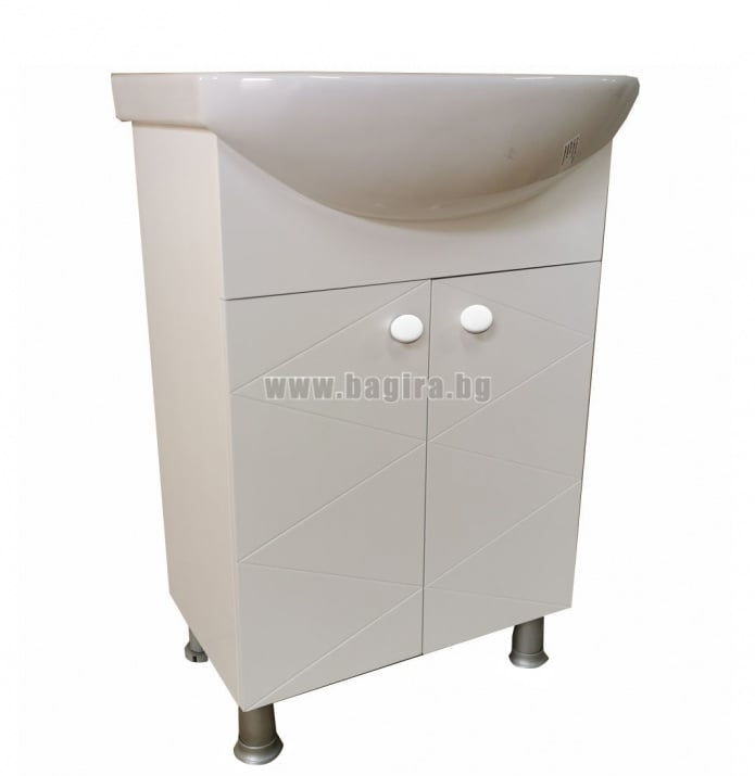 Долен шкаф за баня Кала 55 PVC + мивка Arteco 55 см Cersanit