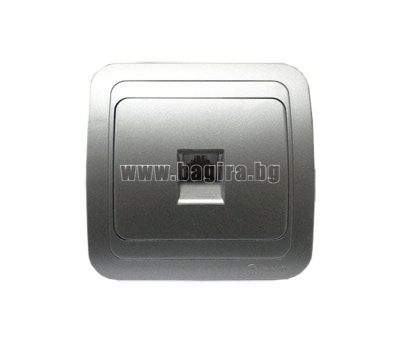 Розетка телефонна евро металик - Mimoza