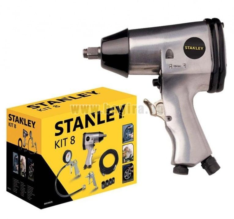 Комплект пневматичен гайковерт и аксеспаро 8 части Stanley