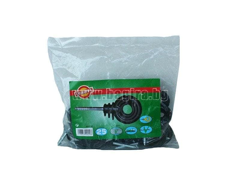 Изолатори за тел за електропастир с винт 25 бр.