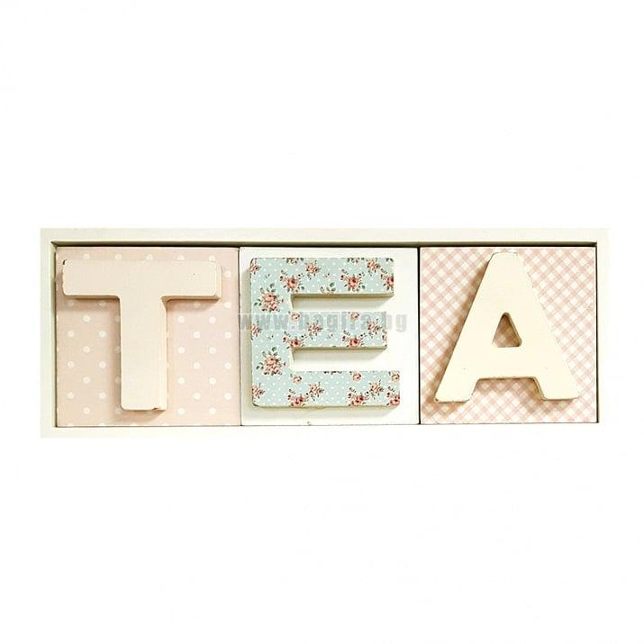 Дървена кутия за чай - TEA