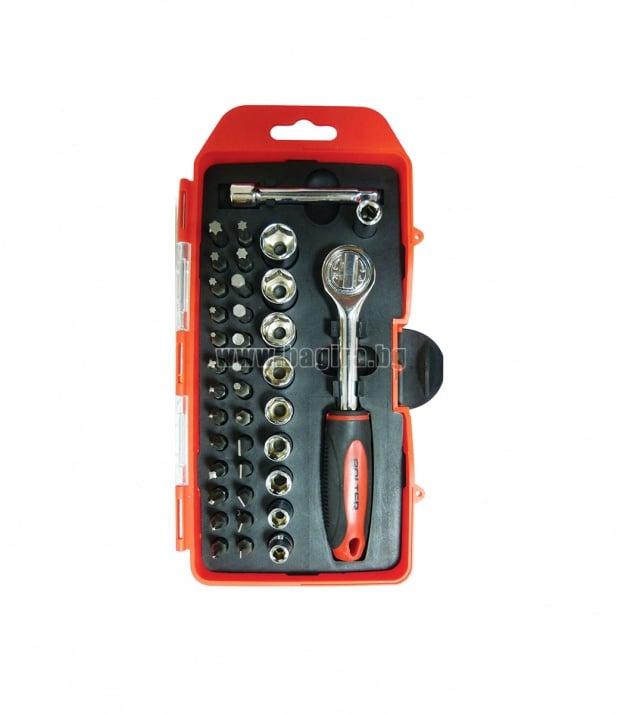 Комплект тресчотка с вложки и накрайници 38 части Bolter
