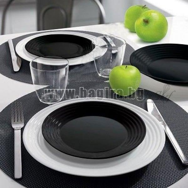 Сервиз за хранене Harena  черно - бял