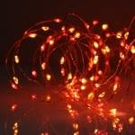 """LED Каскада 200 броя лампички """" Купър """"  - червена светлина"""