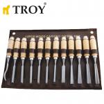 Комплект дърводелски длета - 12 броя Troy